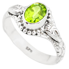 1.54cts natural green peridot 925 silver solitaire ring jewelry size 7 r85542