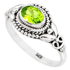 1.55cts natural green peridot 925 silver solitaire ring jewelry size 7 r85545