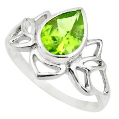 2.78cts natural green peridot 925 silver solitaire ring jewelry size 8 r25334