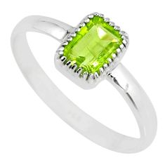 1.58cts natural green peridot 925 silver solitaire ring jewelry size 8 r77185