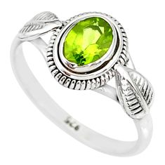 1.44cts natural green peridot 925 silver solitaire ring jewelry size 8 r85537