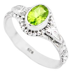 1.58cts natural green peridot 925 silver solitaire ring jewelry size 8 r85541