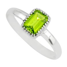 1.57cts natural green peridot 925 silver solitaire ring jewelry size 9 r77179