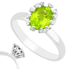 2.27cts natural green peridot 925 silver solitaire ring jewelry size 9 r82791
