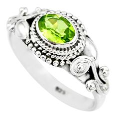 1.55cts natural green peridot 925 silver solitaire ring jewelry size 9 r85525