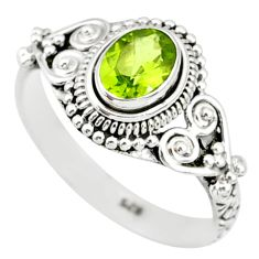 1.58cts natural green peridot 925 silver solitaire ring jewelry size 9 r85526