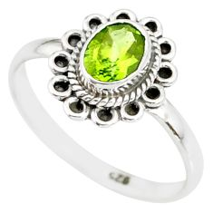 1.49cts natural green peridot 925 silver solitaire ring jewelry size 9 r85550