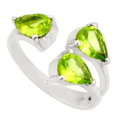 4.24cts natural green peridot 925 sterling silver adjustable ring size 6 d46366