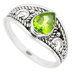 1.46cts natural green peridot 925 silver graduation handmade ring size 6 t9270