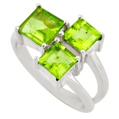 2.41cts natural green peridot 925 sterling silver ring jewelry size 5.5 d46391