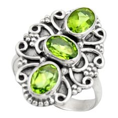4.74cts natural green peridot 925 sterling silver ring jewelry size 7.5 d46585