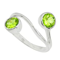 2.78cts natural green peridot 925 sterling silver ring jewelry size 5.5 r25427