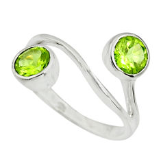 2.95cts natural green peridot 925 sterling silver ring jewelry size 7.5 r25429