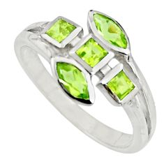 3.87cts natural green peridot 925 sterling silver ring jewelry size 7.5 r25509