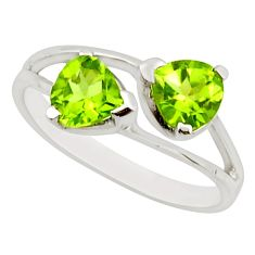 2.98cts natural green peridot 925 sterling silver ring jewelry size 5.5 r25623