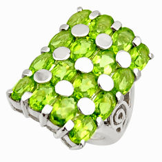 12.63cts natural green peridot 925 sterling silver ring jewelry size 5.5 r25725