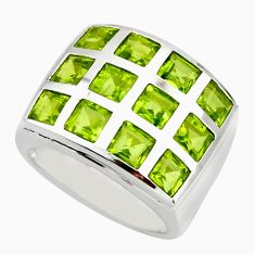 6.34cts natural green peridot 925 sterling silver ring jewelry size 7.5 r25738
