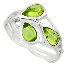 2.98cts natural green peridot 925 sterling silver ring jewelry size 8.5 r25866