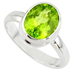 4.06cts natural green peridot 925 sterling silver ring jewelry size 6.5 r42680
