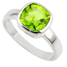3.23cts natural green peridot 925 sterling silver ring jewelry size 6.5 r45683
