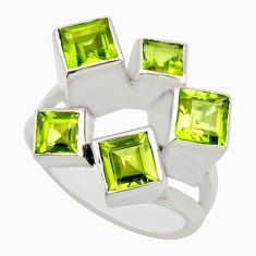 4.72cts natural green peridot 925 sterling silver ring jewelry size 10 r25685