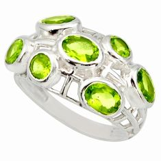 5.75cts natural green peridot 925 sterling silver ring jewelry size 8 r25719