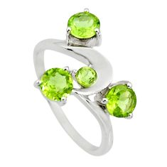 2.93cts natural green peridot 925 sterling silver ring jewelry size 9 r25407
