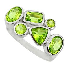 6.10cts natural green peridot 925 sterling silver ring jewelry size 9 r25905