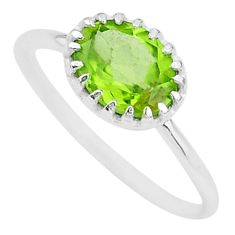 1.91cts natural green peridot 925 sterling silver ring jewelry size 6.5 t8129