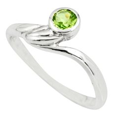 0.65cts natural green peridot 925 sterling silver solitaire ring size 5.5 r25563