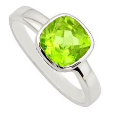 3.32cts natural green peridot 925 sterling silver solitaire ring size 7.5 r25608