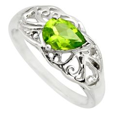 1.70cts natural green peridot 925 sterling silver solitaire ring size 5.5 r25803