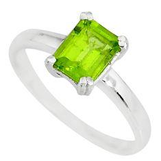 1.83cts natural green peridot 925 sterling silver solitaire ring size 7 r83910