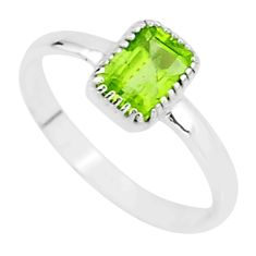 1.28cts natural green peridot 925 sterling silver solitaire ring size 8 t7435