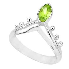 1.79cts natural green peridot 925 sterling silver solitaire ring size 8 t7542