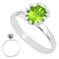 2.12cts natural green peridot 925 sterling silver solitaire ring size 8.5 t4569