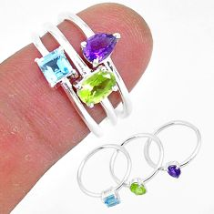 3.13cts natural green peridot amethyst 925 silver 3 rings size 6.5 r93043