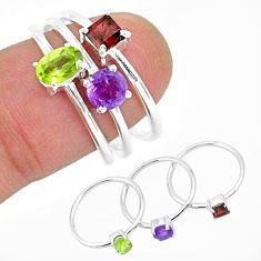 3.00cts natural green peridot amethyst 925 sterling silver 3 rings size 8 r93095