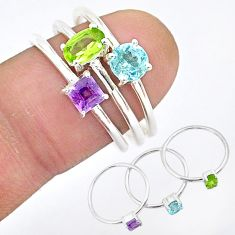 3.05cts natural green peridot amethyst 925 sterling silver 3 rings size 8 r93124