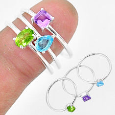 2.77cts natural green peridot amethyst 925 sterling silver 3 rings size 8 r93148