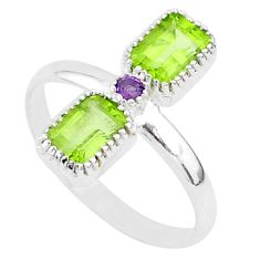 3.17cts natural green peridot amethyst 925 sterling silver ring size 9 t5583