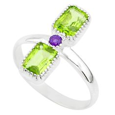 3.42cts natural green peridot amethyst 925 sterling silver ring size 9.5 t5585