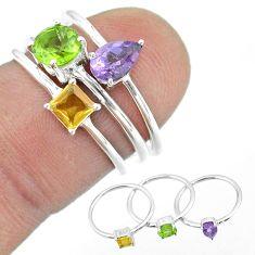 2.58cts natural green peridot amethyst citrine 925 silver 3 rings size 6 t51048