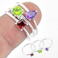 2.98cts natural green peridot amethyst garnet 925 silver 3 rings size 7 t51091
