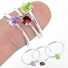 2.97cts natural green peridot amethyst garnet 925 silver 3 rings size 6.5 t51083