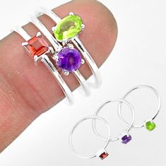 2.91cts natural green peridot amethyst sterling silver 3 rings size 8 r93130