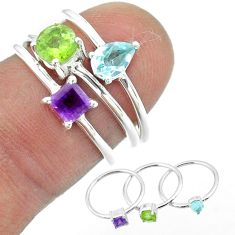 2.81cts natural green peridot amethyst topaz 925 silver 3 rings size 6 t51055