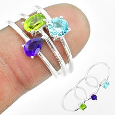 2.97cts natural green peridot amethyst topaz 925 silver 3 rings size 7 t51166