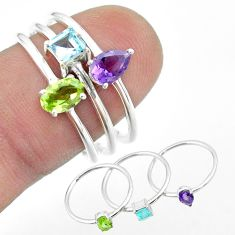 2.81cts natural green peridot amethyst topaz 925 silver 3 rings size 8 t51010
