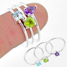 2.98cts natural green peridot amethyst topaz 925 silver 3 rings size 9 t17706